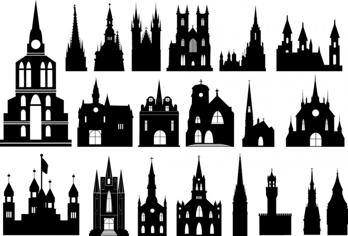 Catholic church silhouette Vector