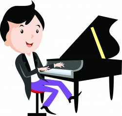 Children playing musical instruments – Piano Vector