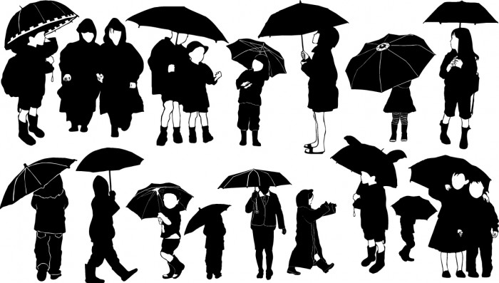 Children with umbrella silhouettes Vector