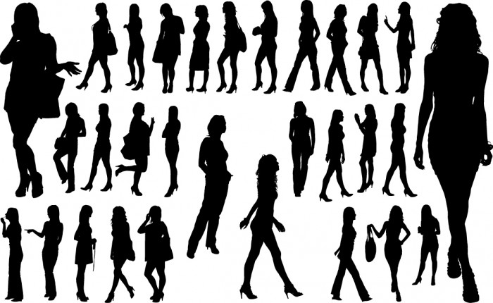 Common women silhouettes Vector