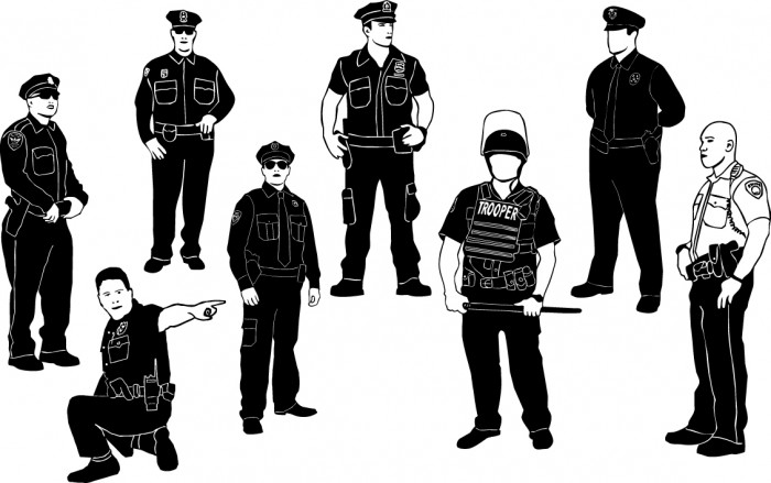 Cops policeman silhouettes Vector
