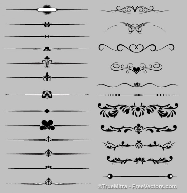 Elegant ornaments silhouettes retro collection  Vector | Free Download