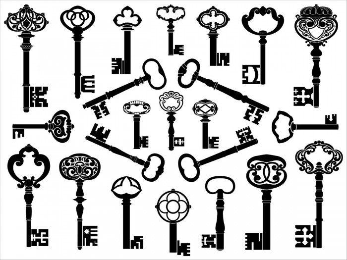 European retro keys 1 Vector