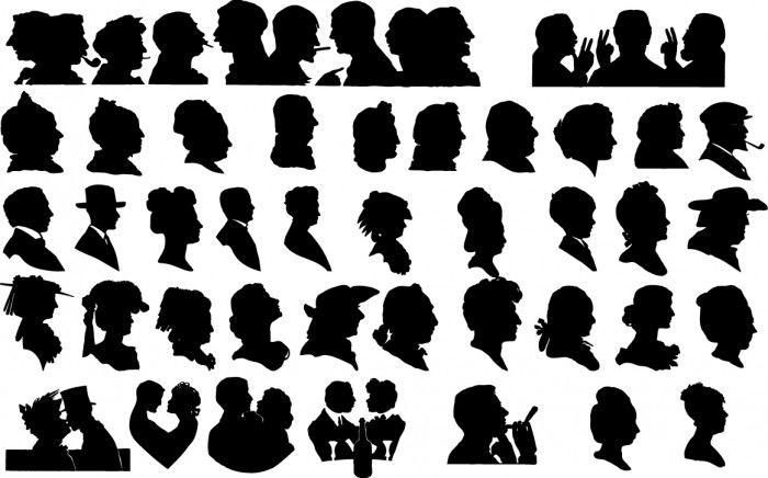 Face silhouettes Vector