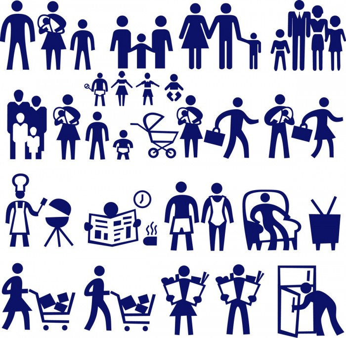 Family characters silhouette Vector