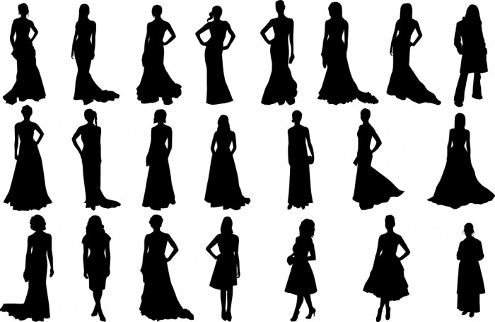 Fashion girls silhouettes Vector