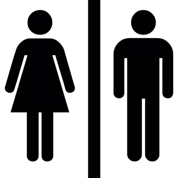 Female and male silhouettes with a vertical line in the middle  Icons | Free Download