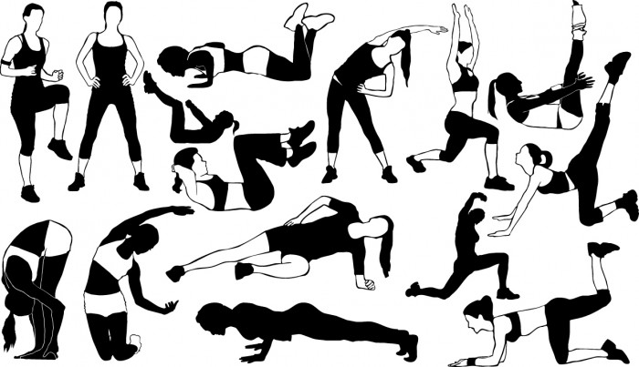 Fitness girl silhouettes Vector