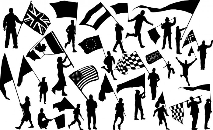 Flag bearer silhouettes Vector
