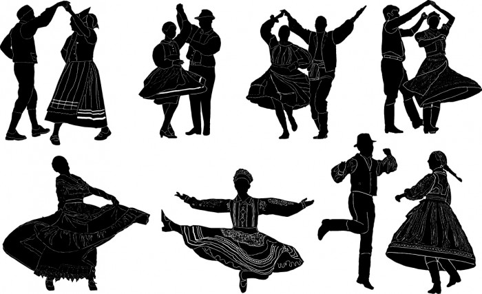 Folk dance silhouettes Vector