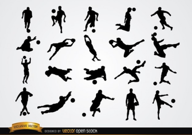Football players silhouettes in different positions  Vector | Free Download