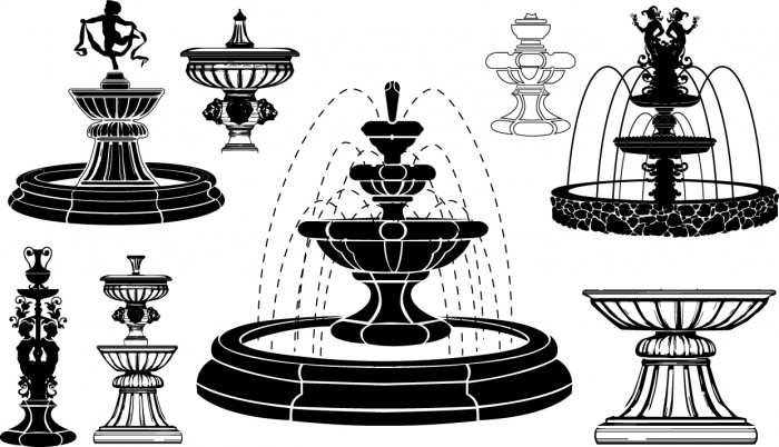 Fountain silhouettes Vector