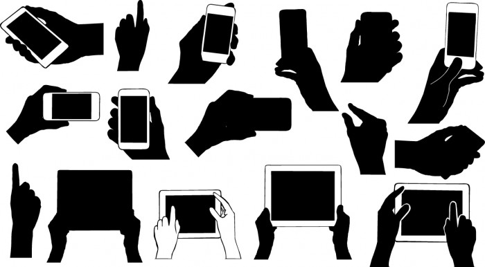 Hands holding electronic device silhouettes Vector