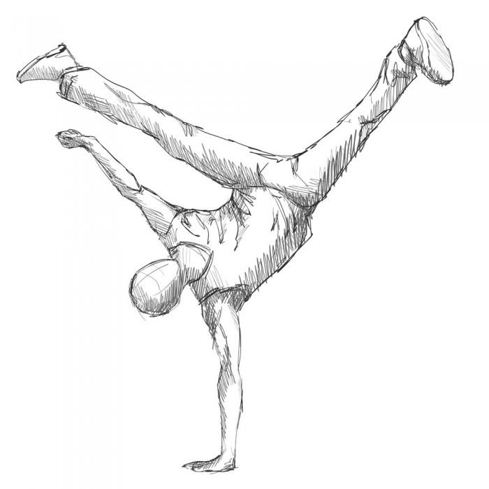 Hiphop man dancer sketch Vector