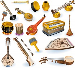 Indian Musical Instruments Vector