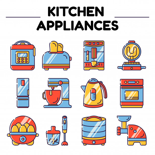 Kitchen appliances isolated objects