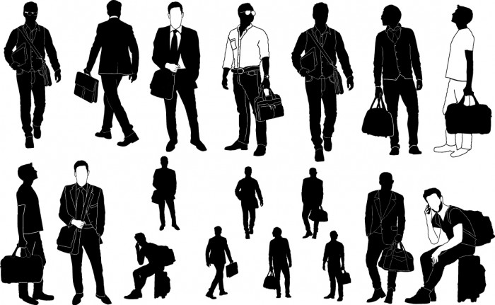 Man with handbag silhouette Vector