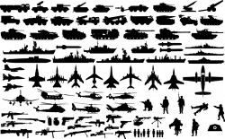 Military vehicle silhouettes Vector