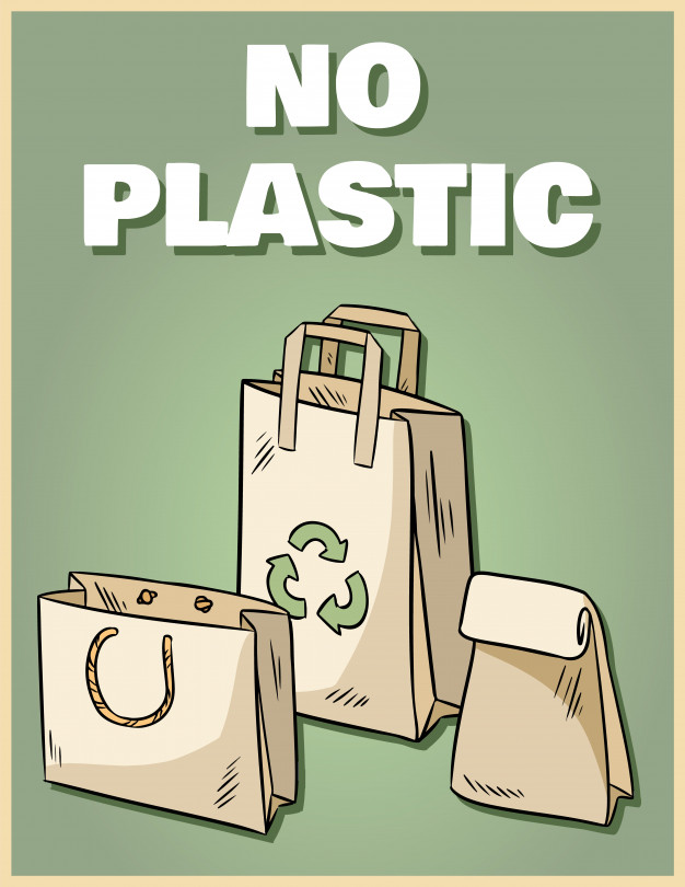 No plastic paper bags poster. motivational phrase