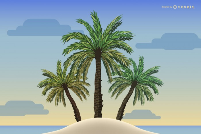 Palm trees illustration on a beach