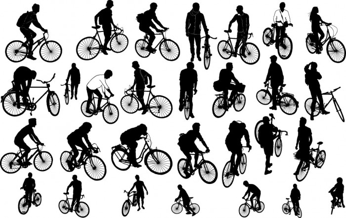 People on biker silhouette Vector