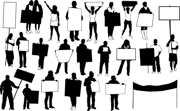 Protest people silhouettes Vector