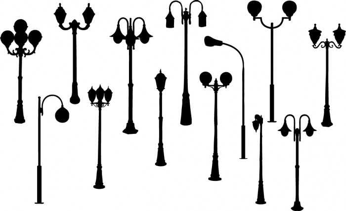 Retro street lights silhouettes Vector