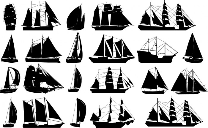 Sailboats silhouettes Vector