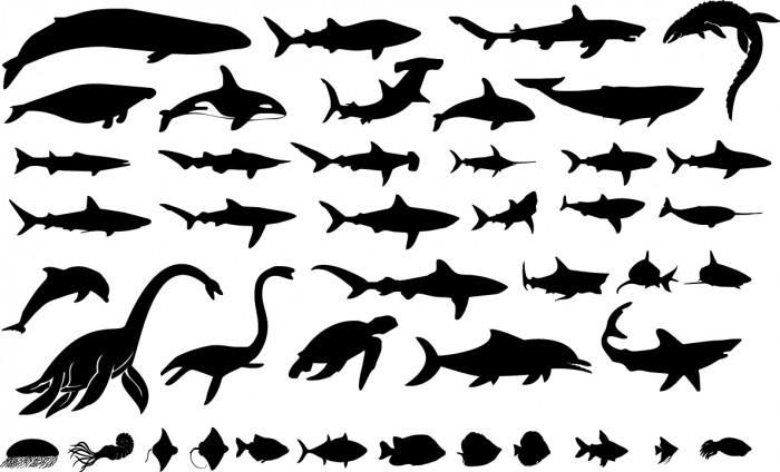 Sea giants silhouettes Vector