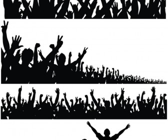 Silhouette of a crowd of people with their hands raised vector