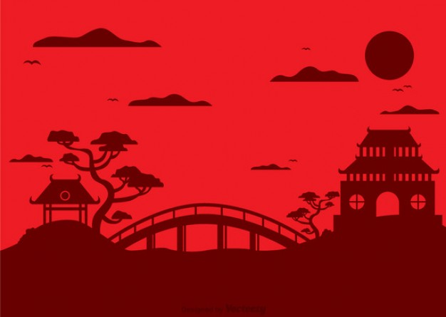 Silhouette of Chinese landscape with pagoda  Vector | Free Download