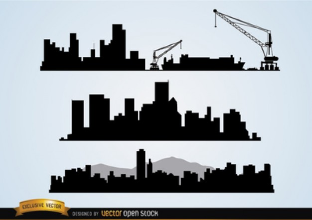 Silhouettes of buildings with crane machines  Vector | Free Download