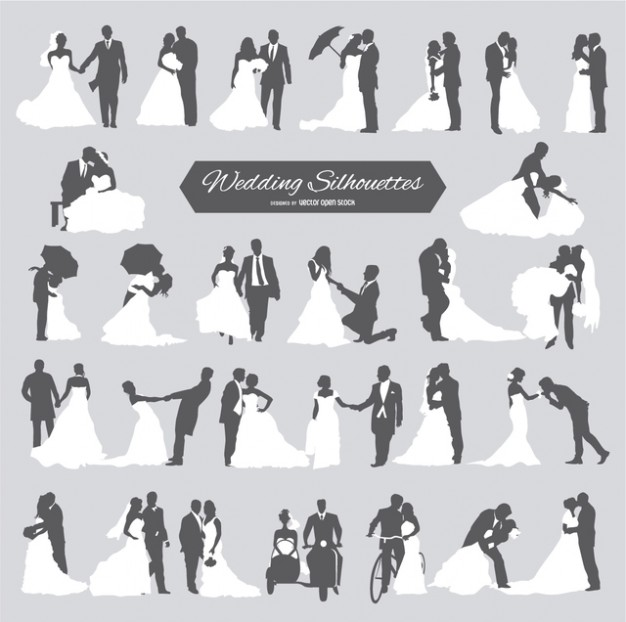Six wedding couples in silhouette  Vector | Free Download