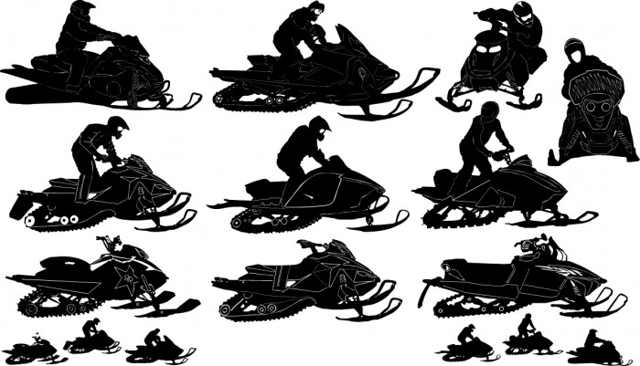 Snowmobile silhouettes Vector