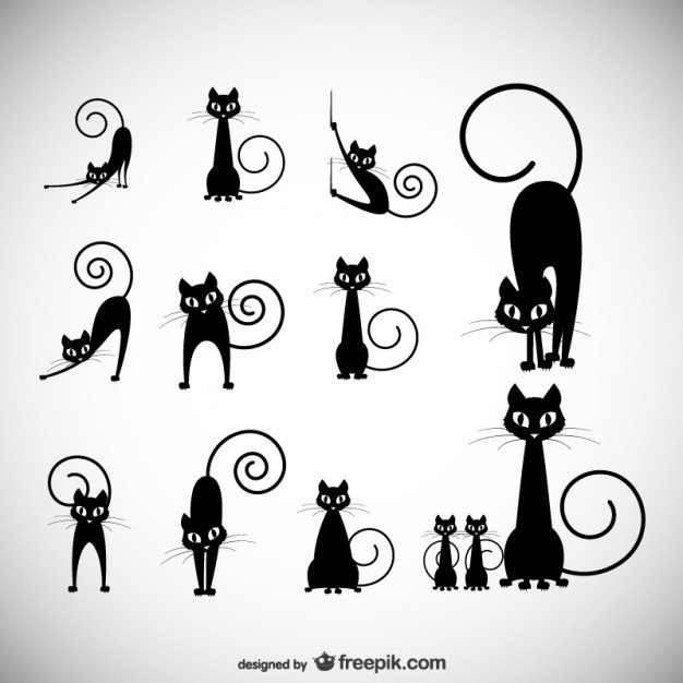 Stock Vector Illustration: Black cat silhouette collections  Vector | Free Download