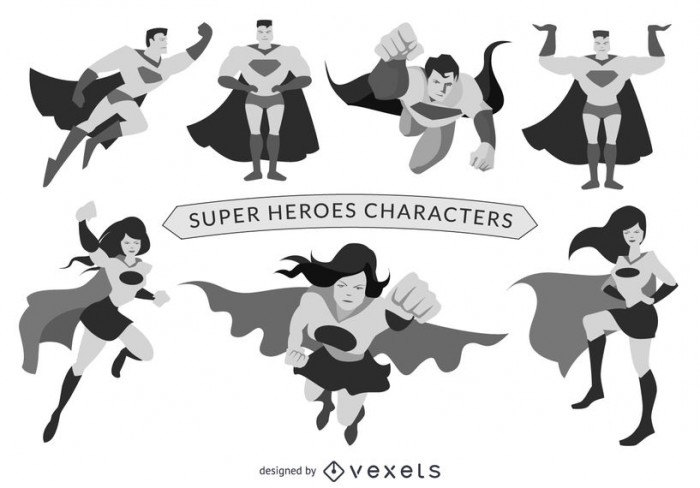 Superhero characters set