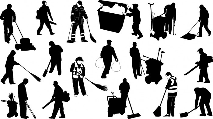 Sweeper silhouettes Vector