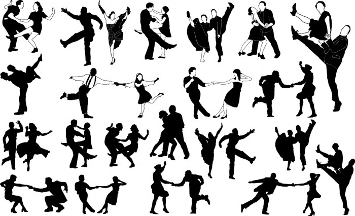 Swing dancers silhouettes Vector