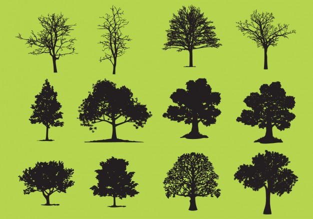 Tree silhouette collection  Vector | Free Download