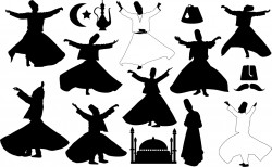 Turkey dancers silhouettes – Whirling Vector