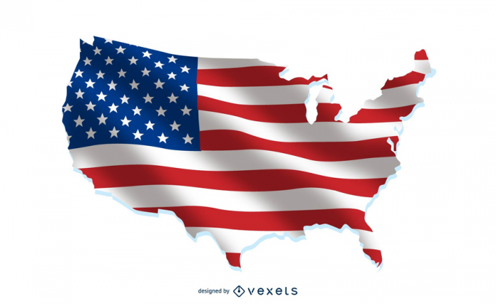USA flag over country map