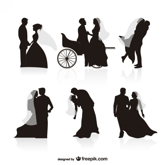 Wedding black silhouettes vectors  Vector | Free Download